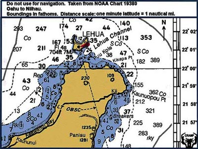 Chart of Lehua Island and the NW portion of Ni�ihau.
