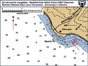 Chart showing Olowalu coastline. Red arrows show location of transect sites.
