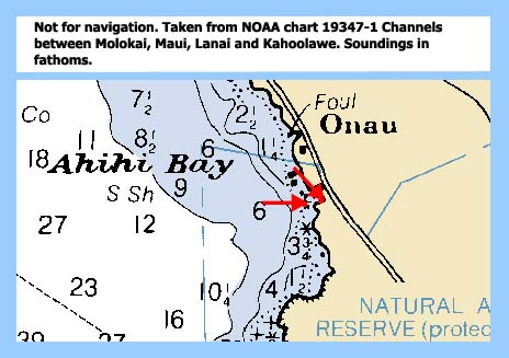 Chart showing Kanahena Bay. Red arrows show the location of the transect sites.