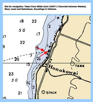Chart showing the Mahinahina site, transect indicated by the red arrows.