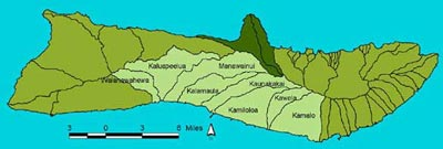 Figure 1: South Moloka�i watersheds.