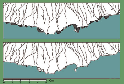 Figure 12. The south coast of Moloka�i with fishponds (top) and as it existed before fishponds were constructed (bottom). From Roberts (2000).