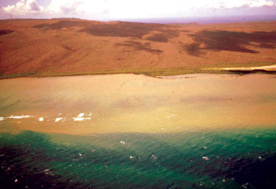 Figure 13. Large sediment plumes form along the south coast of Molokai after heavy rains.