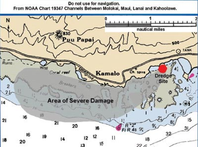 Figure 14. Impact of sediment from dredging on the reefs of Kamalō  (see Figure 4 for aerial photo).