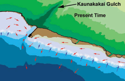 Figure 9. Under present conditions wave action continues to bring clear oceanic water onto the reef (blue arrows), but long-shore flow is diminished. Blockage of transport of sand and sediments into the deep channel causes extensive sediment buildup on the reef flat. Movement of turbid water and bed-load sediment transport must occur over the reef face (red arrows), with consequent destruction of coral cover.